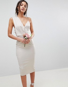 photo Bridesmaid Satin Pencil Midi Dress with Tie Back by ASOS DESIGN Tall, color Champagne - Image 2