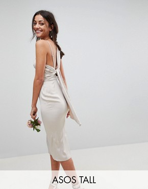 photo Bridesmaid Satin Pencil Midi Dress with Tie Back by ASOS DESIGN Tall, color Champagne - Image 1