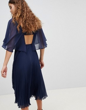 photo Midi Dress with Pleat Skirt and Flutter Sleeve by ASOS DESIGN, color Navy - Image 2