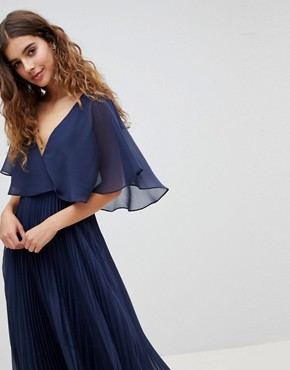 photo Midi Dress with Pleat Skirt and Flutter Sleeve by ASOS DESIGN, color Navy - Image 1