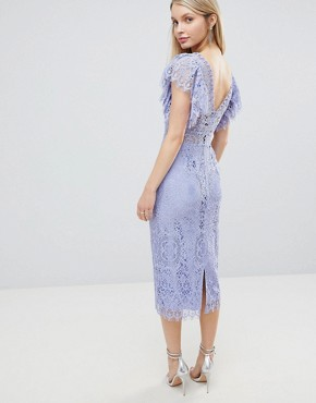 photo Lace Pencil Midi Dress with Frill Sleeve by ASOS DESIGN, color Dusty Blue - Image 2