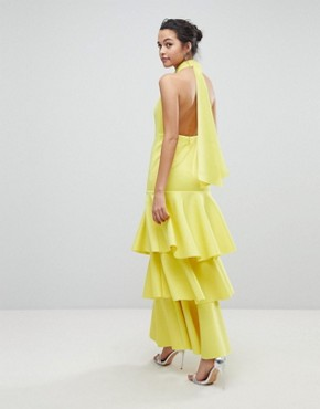 photo Halter Neck Tiered Bow Back Maxi Dress by ASOS, color Yellow - Image 2