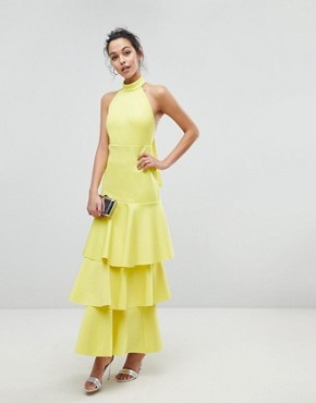 photo Halter Neck Tiered Bow Back Maxi Dress by ASOS, color Yellow - Image 1