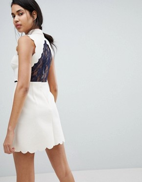 photo Scallop & Lace A-Line Mini Dress by ASOS, color Nude/Navy - Image 2