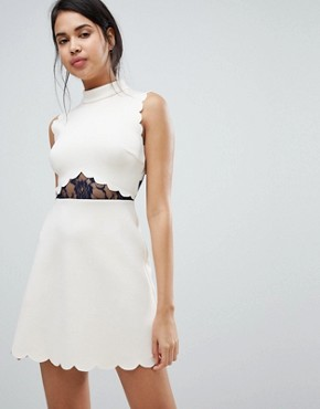 photo Scallop & Lace A-Line Mini Dress by ASOS, color Nude/Navy - Image 1