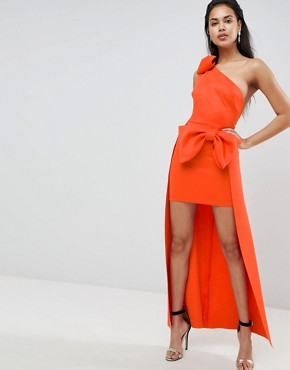 photo Bow Shoulder High Low Maxi Dress by ASOS, color Orange - Image 1