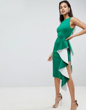 photo Two Tone Scuba Ruffle Front Midi Bodycon Dress by ASOS DESIGN, color Green - Image 1