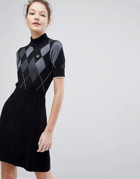 photo Argyle Knitted Dress by Fred Perry, color Black - Image 1