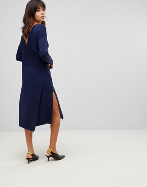 photo Wrap Back Midi Dress in Knit by ASOS, color Navy - Image 2