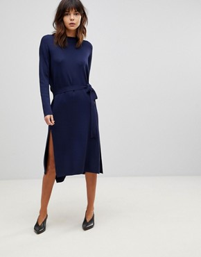 photo Wrap Back Midi Dress in Knit by ASOS, color Navy - Image 1