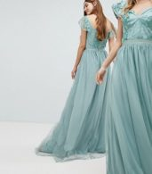 photo Embellished Top Maxi Dress with Frill Sleeve Detail by Amelia Rose Tall, color Sage Green - Image 2
