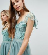 photo Embellished Top Maxi Dress with Frill Sleeve Detail by Amelia Rose Tall, color Sage Green - Image 3
