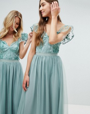 photo Embellished Top Maxi Dress with Frill Sleeve Detail by Amelia Rose Tall, color Sage Green - Image 4