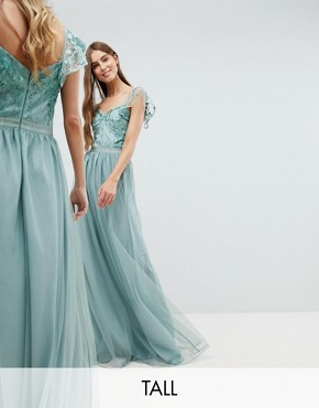 photo Embellished Top Maxi Dress with Frill Sleeve Detail by Amelia Rose Tall, color Sage Green - Image 1