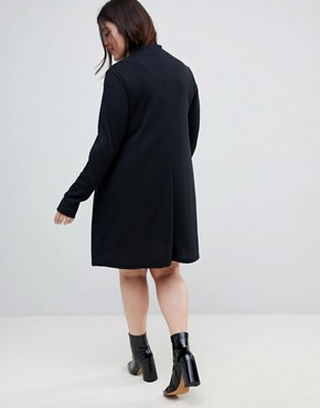 photo Swing Dress in Rib with Polo Neck & Long Sleeve by ASOS CURVE, color Black - Image 2