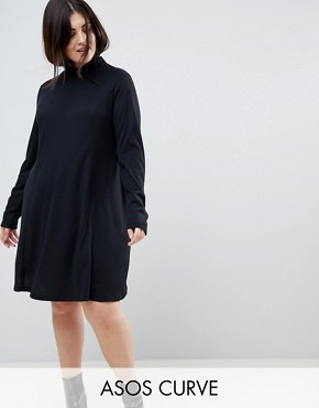 photo Swing Dress in Rib with Polo Neck & Long Sleeve by ASOS CURVE, color Black - Image 1