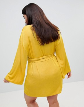 photo Kimono Sleeve Mini Dress with Self Tie Fringe Belt by ASOS CURVE, color Ochre - Image 2