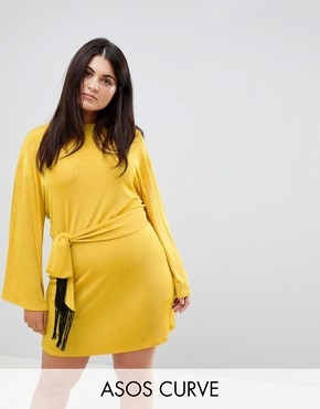 photo Kimono Sleeve Mini Dress with Self Tie Fringe Belt by ASOS CURVE, color Ochre - Image 1