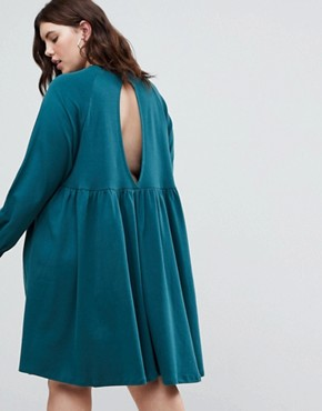 photo Cotton Smock Dress with Elastic Cuff Detail by ASOS CURVE, color Green - Image 2