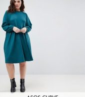 photo Cotton Smock Dress with Elastic Cuff Detail by ASOS CURVE, color Green - Image 1