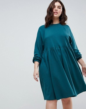 photo Cotton Smock Dress with Elastic Cuff Detail by ASOS CURVE, color Green - Image 4