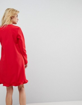 photo Tango Frill Hem Shift Dress by Y.A.S, color Red - Image 2