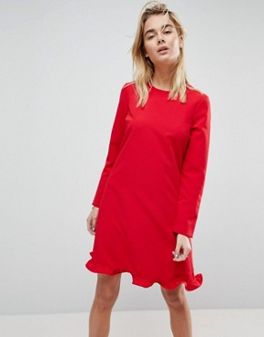 photo Tango Frill Hem Shift Dress by Y.A.S, color Red - Image 1