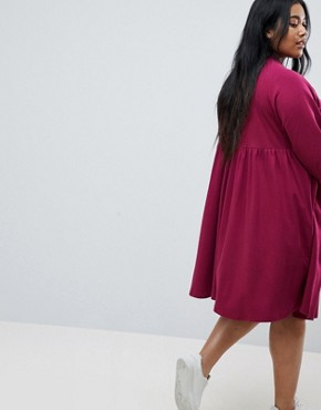 photo Cotton Smock Dress with Elastic Cuff Detail by ASOS CURVE, color Berry - Image 2