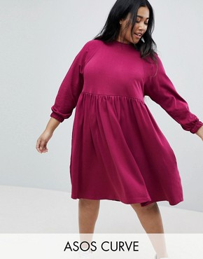 photo Cotton Smock Dress with Elastic Cuff Detail by ASOS CURVE, color Berry - Image 1