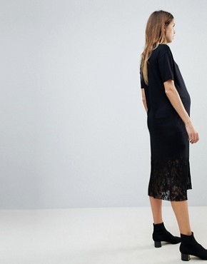photo Midi T-Shirt Dress with Pleated Lace Hem by ASOS Maternity, color Black - Image 2