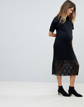 photo Midi T-Shirt Dress with Pleated Lace Hem by ASOS Maternity, color Black - Image 1