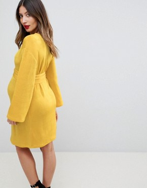 photo Kimono Sleeve Mini Dress with Self Tie Fringe Belt by ASOS Maternity, color Ochre - Image 2