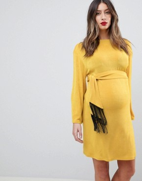 photo Kimono Sleeve Mini Dress with Self Tie Fringe Belt by ASOS Maternity, color Ochre - Image 1