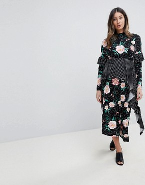 photo Mixed Print Deconstructed Midi Tea Dress by ASOS Maternity, color Multi - Image 1