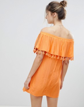 photo Fruit Embroidered Bandeau Beach Dress by ASOS Maternity, color Orange - Image 2