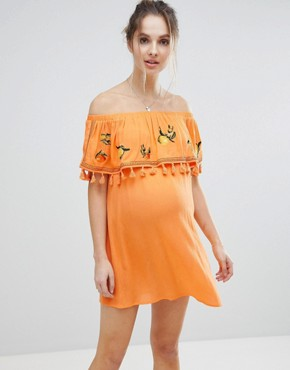 photo Fruit Embroidered Bandeau Beach Dress by ASOS Maternity, color Orange - Image 1