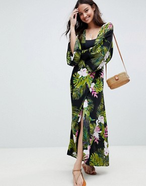 photo Dark Tropical Print Long Sleeve Plunge Beach Maxi Dress by ASOS DESIGN, color Dark Tropical - Image 1
