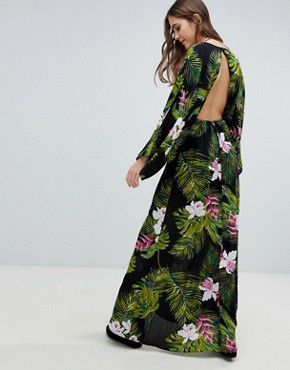 photo Dark Tropical Palm Print Long Sleeve Plunge Beach Maxi Dress by ASOS DESIGN Tall, color Dark Tropical - Image 2