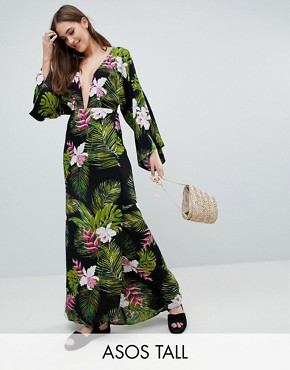 photo Dark Tropical Palm Print Long Sleeve Plunge Beach Maxi Dress by ASOS DESIGN Tall, color Dark Tropical - Image 1