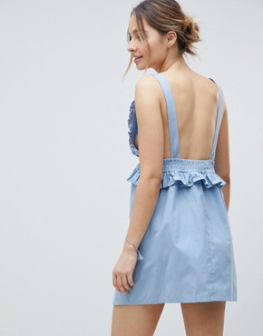 photo Maternity Frill Shirred Waist Beach Dress by ASOS DESIGN, color Blue - Image 2