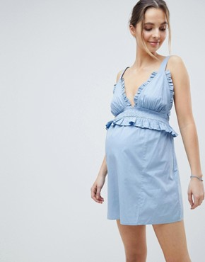 photo Maternity Frill Shirred Waist Beach Dress by ASOS DESIGN, color Blue - Image 1