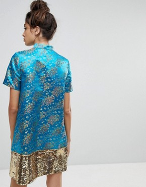 photo Brocade Dress with Sequin Panel by Reclaimed Vintage Inspired, color Turquoise - Image 2