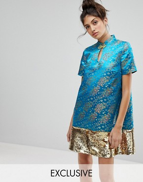 photo Brocade Dress with Sequin Panel by Reclaimed Vintage Inspired, color Turquoise - Image 1