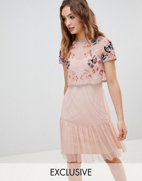 photo Embellished Top Drop Hem Skater Dress by Frock and Frill Premium, color Coral - Image 1