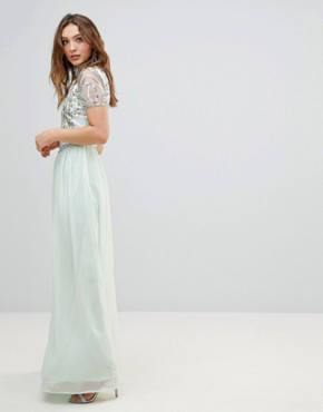 photo Embellished Top Maxi Dress by Frock and Frill Premium, color Duck Egg - Image 2