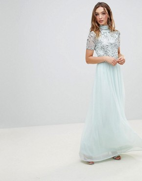 photo Embellished Top Maxi Dress by Frock and Frill Premium, color Duck Egg - Image 1