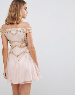 photo Premium Embellished Bardot Bodice Mini Skater Dress by Frock and Frill Petite, color Nude - Image 2