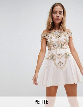 photo Premium Embellished Bardot Bodice Mini Skater Dress by Frock and Frill Petite, color Nude - Image 1