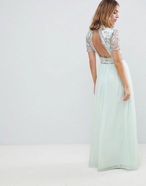 photo Premium Embellished Top Maxi Dress by Frock and Frill Petite, color Duck Egg - Image 2
