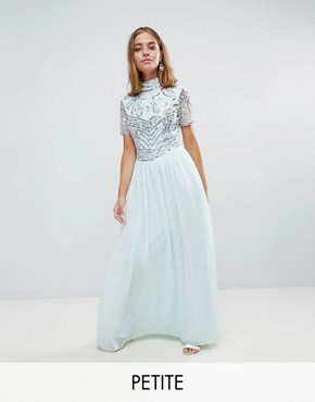 photo Premium Embellished Top Maxi Dress by Frock and Frill Petite, color Duck Egg - Image 1